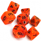 Orange & Black Vortex Polyhedral 7 Dice Set